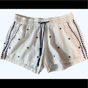 White Shorts Navy Blue Embroidered Tassels Size M